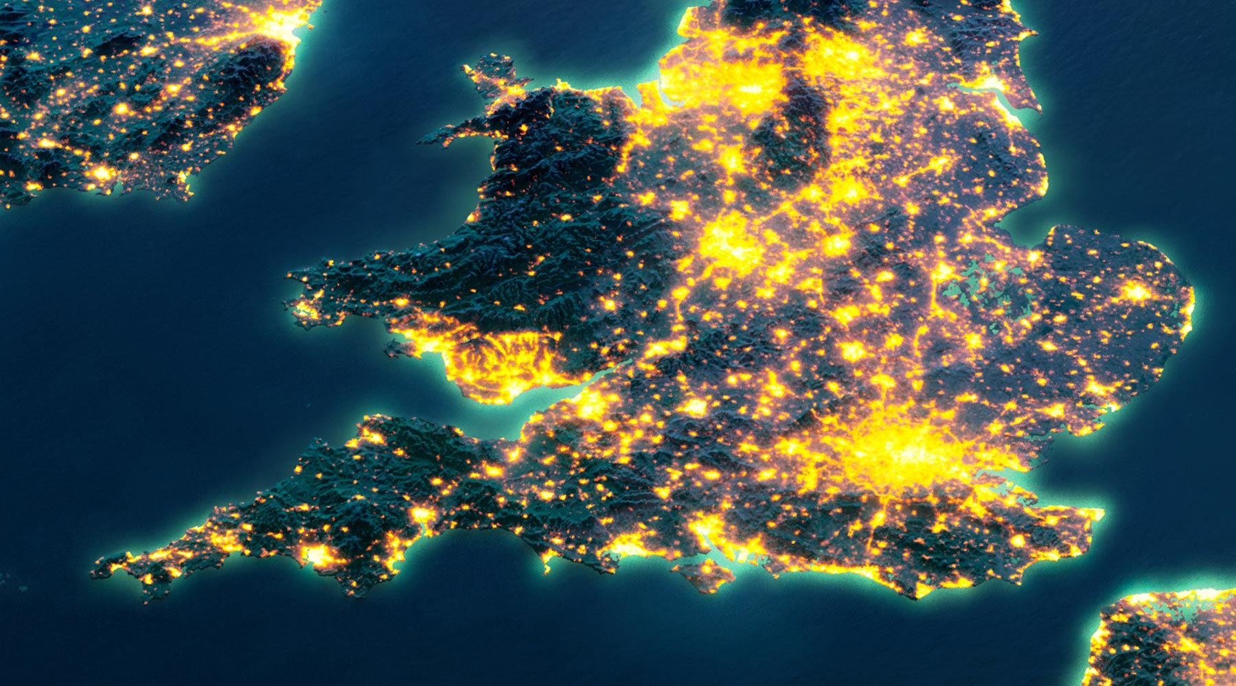 Satellite image of southern United Kingdom